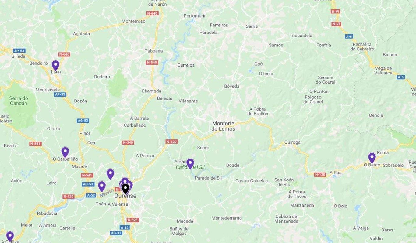 Mapa De Ourense Provincia Y Pueblos Pagina 2