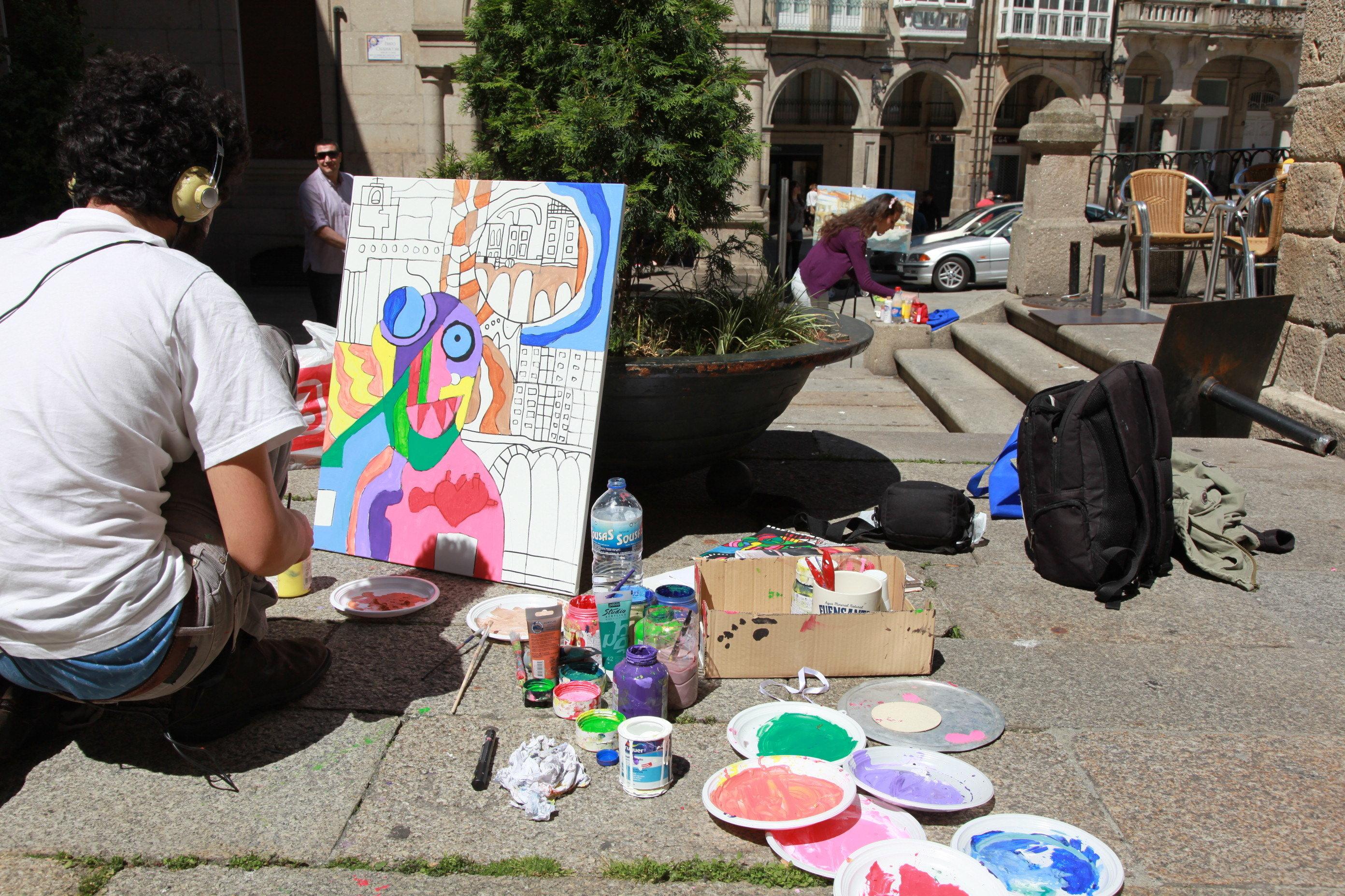 Los pintores invadieron las calles del casco vello - Pintores en ourense ...