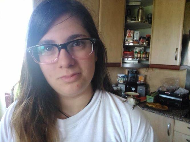 Michelle López ya está de vuelta en su casa de Parada de Ribeira.