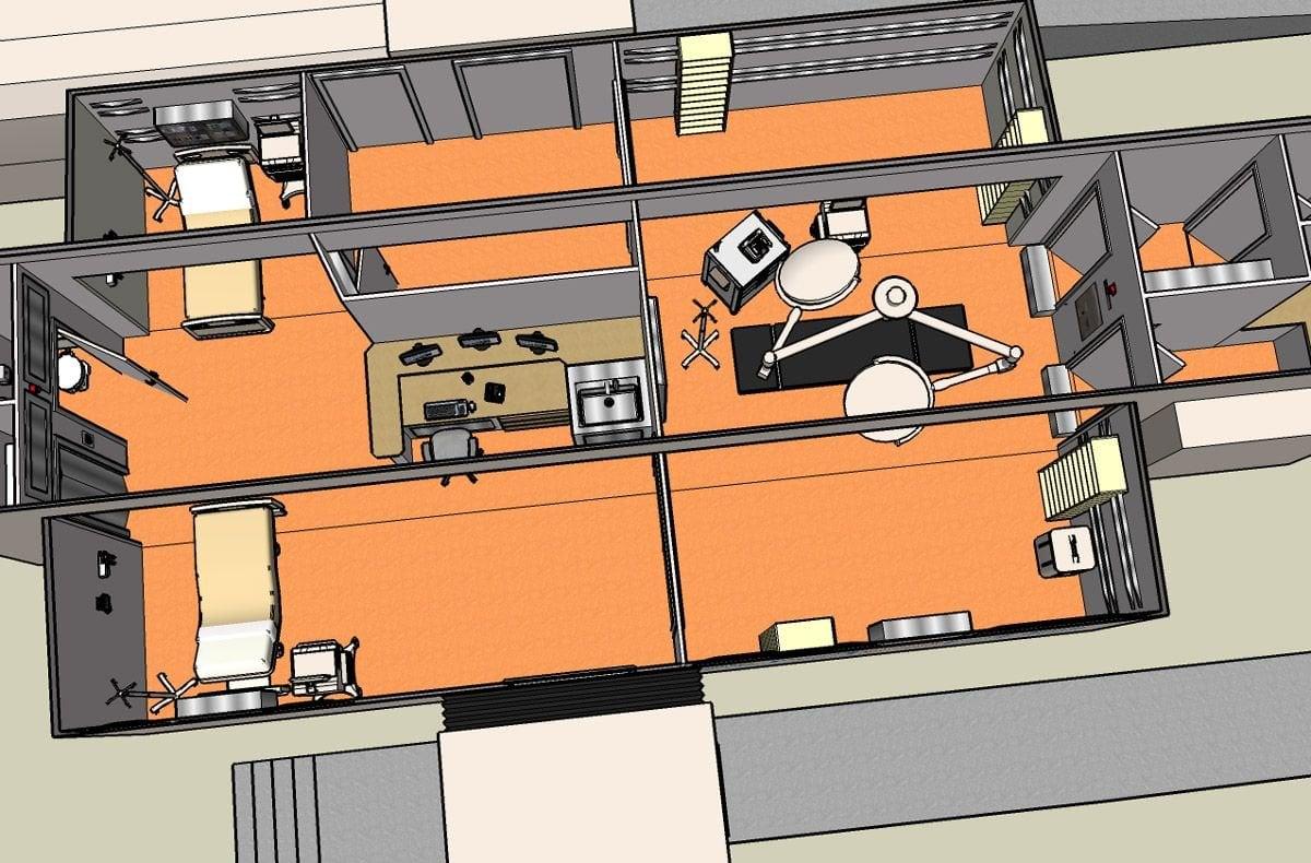 Dibujo del interior de uno de los camiones-hospital que proyecta la Xunta inicialmente en Ourense. Tendrán dos espacios para camillas, con salita para los facultativos y personal sanitario, sala de preoperatorio y otra de quirófano.
