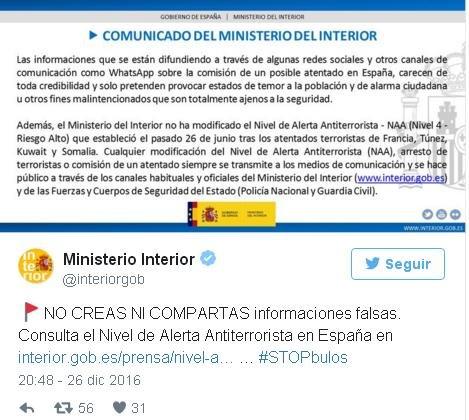 Se difunde en redes sociales un bulo sobre un atentado en for Ministerio de interior legalizaciones