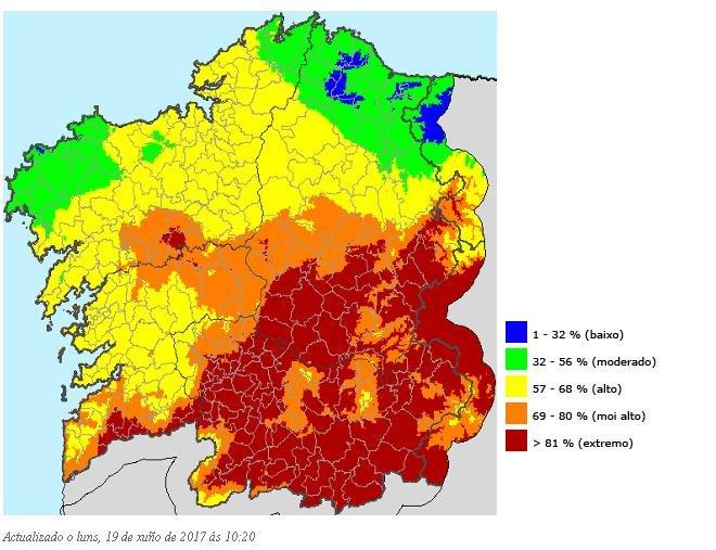 mapa de incendios Ourense hoy: el mapa del riesgo extremo por incendios   Ourense  mapa de incendios