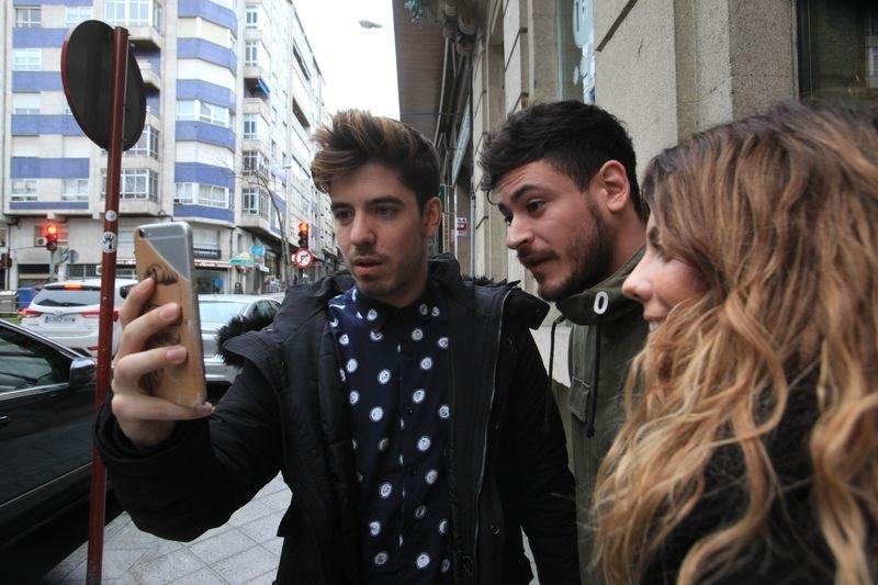 OURENSE 8/03/2018.- Llegada al hotel NH de los integrantes de OT, Roi, Mirian y Cepeda. José Paz