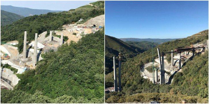 El viaducto de As Teixeiras el pasado 24 de junio (izquierda) y el pasado 7 de octubre (derecha)