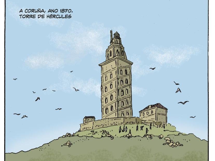 Vista de la Torre de Hércules, dibujada por Esteban Tolj en A tumba de Breogán. (Demo Ed.)